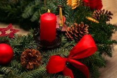 Advent Season, quatro velas de queimadura Fotografia de Stock Royalty Free