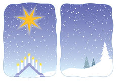Advent star decorating a snowy window Royalty Free Stock Images