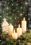 Advent time. Advent candles with decorative stars Stock Photos