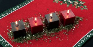 Advent time. Four burning candles. Christmas decoration Royalty Free Stock Images