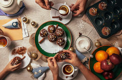 Advent time tea party with homemade muffins Royalty Free Stock Images