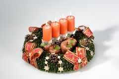 Advent wrath with burning candles, Christmas decoration Stock Images