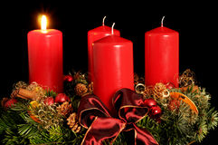 Advent wreath. With red candles Royalty Free Stock Photography