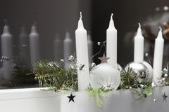 Advent wreath. Modern advent wreath with white candles and green Royalty Free Stock Photography