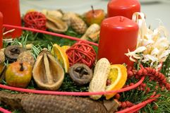Advent wreath. Detail of red candles on an advent wreath Royalty Free Stock Image