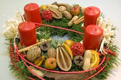 Advent wreath. Detail shot of advent wreath with red candles Royalty Free Stock Photos