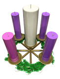 Advent Wreath. A lit advent wreath sits on a purple cloth, the color of the Advent season vector illustration