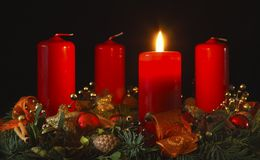 Advent Wreath. With four candles Royalty Free Stock Photography