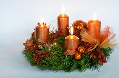 Advent wreath. Orange advent wreath on white background Stock Images
