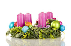 Advent wreath. Isolated on a white background stock photos