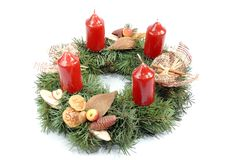 Advent wreath. Detail shot of advent wreath with red candles Stock Photos