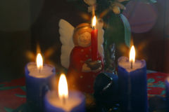 Advent wreath and angel Stock Image