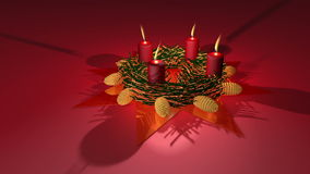 Advent wreath. Animation about Christmas - Advent wreath with burning candles royalty free illustration