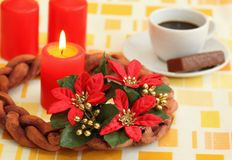 Advent wreath. Beginning of Advent and making Christmas decoration stock image