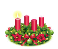 Advent Wreath A burning candle. Advent, Advent wreath, fourth advent, 1, first, burning candle, christmas star, Christmas baubles,Christmas balls, Christmas tree Stock Photo