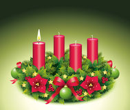 Advent Wreath A burning candle. Advent, Advent wreath, fourth advent, 1, first, burning candle, christmas star, Christmas baubles, Christmas balls, Christmas Royalty Free Stock Photography