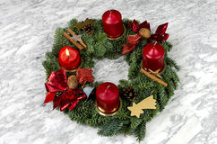 Advent wreath with burning candle Stock Photography