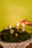 Advent wreath with burning candle Stock Image