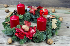 Advent wreath with burning candle Royalty Free Stock Photography