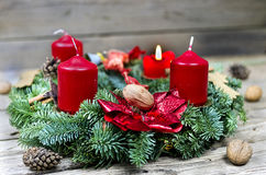 Advent wreath with burning candle Stock Photos