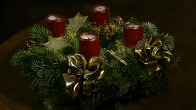 Advent wreath. With burning candles stock footage