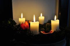 Advent wreath. With burning candles Stock Photography