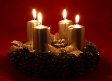 Advent wreath. With burning candles Royalty Free Stock Images
