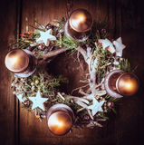 Advent wreath with burning candles , Christmas card, Royalty Free Stock Images