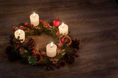 Advent wreath with burning candles for the Christmas time Royalty Free Stock Image