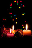 Advent wreath with burning candles. Stock Photography