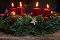 Advent wreath with burning candles Royalty Free Stock Photo