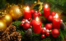 Advent wreath with 4 burning candles Stock Images
