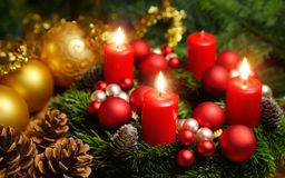 Advent wreath with 3 burning candles Stock Images