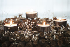 Advent wreath with burning four candles Royalty Free Stock Images