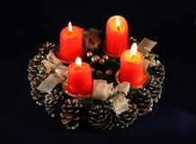 Advent wreath. With burning red candles stock photos
