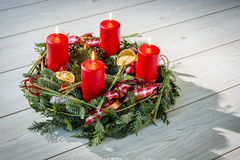 Advent wreath with burning red candles Royalty Free Stock Image