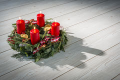 Advent wreath with burning red candles Stock Image
