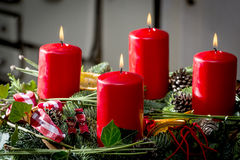 Advent wreath with burning red candles Stock Photography