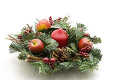 Advent wreath with candle. Advent wreath with red candle stock photo