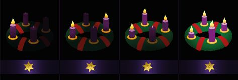 Advent Wreath Candles Burning Four Sundays. Advent wreath with purple candles - one, two, three and four burning candles to light up the darkness - numbered with Stock Image