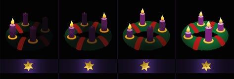 Advent Wreath Candles Burning Four-Zondagen stock illustratie