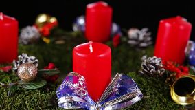 Advent wreath with candles stock footage
