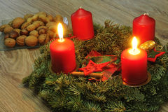 Advent wreath. With candles on a table Stock Image