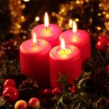 Advent wreath. Close-up of four burning candles on advent wreath stock photo