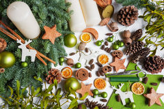 Advent wreath, DIY, divers materials, decoration Royalty Free Stock Image