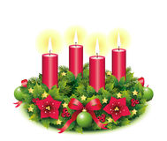 Advent Wreath Four burning candle. Advent, Advent wreath, fourth advent, 4, four, burning candle, christmas star, Christmas baubles, Christmas balls, Christmas Royalty Free Stock Photo