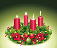Advent Wreath Four burning candle. Advent, Advent wreath, fourth advent, 4, four, burning candle, christmas star, Christmas baubles, Christmas balls, Christmas Royalty Free Stock Images