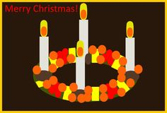 Advent Wreath. This is a vector illustration. The illustration shows an advent wreath with four burning candles, nuts, berries and ribbons. The words `Merry royalty free illustration
