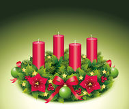 Advent Wreath Four candle. Advent, Advent wreath, fourth advent, 4, four, burning candle, christmas star, Christmas baubles, Christmas balls, Christmas tree ball Royalty Free Stock Image