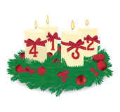 Advent wreath. With four candles and pine needles with ornaments Stock Photos